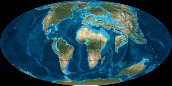 Continental plate position in the Eocene era. Kontinentalplattenverteilung im Eozän