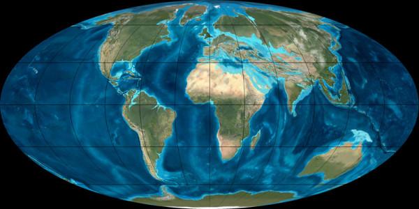 Shape of the World in the Oligocene - South America separates from the Antarctic, Norway breaks away from Greenland. Die Welt im Oligozän - Südamerika trennt sich von der Antarktis, Norwegen bricht von Grönland weg.