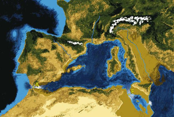 At the height of the Zanclean Flood the waters rushed into the basin at 185 miles per hour and refilled the Mediterranean. Zum Höhepunkt der Zanclean Flut rauschte das Wasser mit 300 Kilometer pro Stunde wieder ins mediterrane Becken zurück.