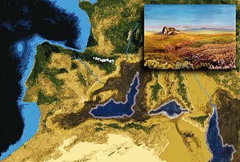 5.6 million years ago Africa collided with Europe in such a way that the Mediterranean Sea was closed off and dried out. Vor 5.6 Millionen Jahren stieß Afrika so mit Europpa zusammen, daß sich die Landenge von Gibralta schloß und das Mittelmeer austrocknete.
