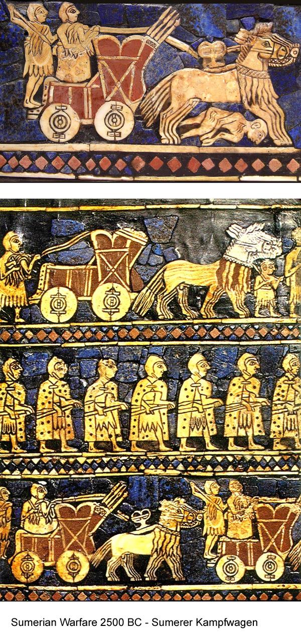 Early illustrations of warfare with horses: here 2500 BC in the Sumerian wars. Frühe Illustrationen der Kriegsführung mit Pferden: hier 2500 v. Chr. in den Kriegen der Sumerer.
