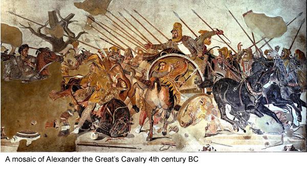 An early mosaic depicting Alexander the Great's cavalry. Ein frühes Mosaik, das die Kavallerie Alexander des Großen zeigt.