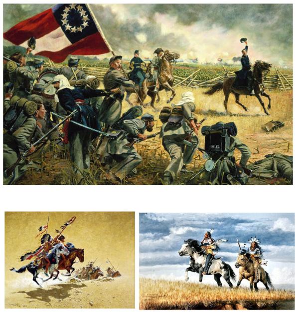 Top: the American War of Independence. Bottom: natives learned to fight with horses from the whites. Oben: der amerikanische Unabhängigkeitskrieg. Unten: die Indianer lernten Kriegsführung zu Pferd von den Weißen.