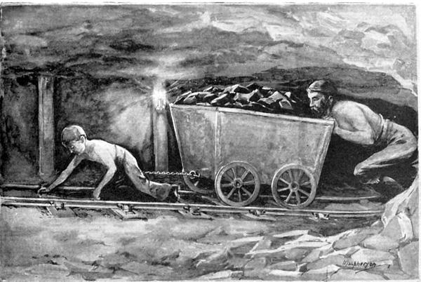 Until 1842 this is how some children had to work - up to 12 hours a day! Most of them died young. Bis 1842 mußten viele Kinder so arbeiten - und das bis 12 Stunden am Tag! Fast alle starben jung.